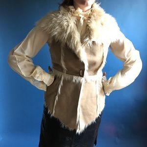Luxe faux fur shearling sweater shrug / gilet